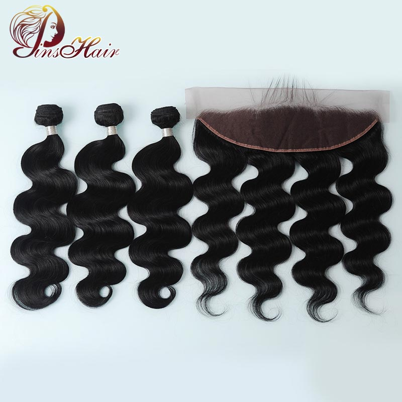 Pinshair Nonremy Body Wave Bundles With Closure Peruvian Human Hair Bundles With 13*4 Lace Front Wig Staight Hair With Baby Hair