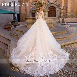 Image 2 - נתיק בת ים חתונת שמלות ארוך שרוול Vestido דה Novia 2020 אתל ROLYN סקסי מתוקה כלה שמפניה כלה שמלות