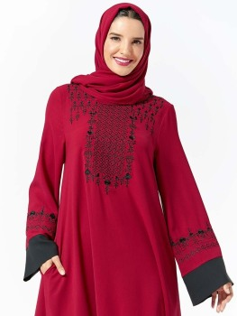 Hijab Dress Women's Musulman Embroidery Splicing Pocket Muslim Long