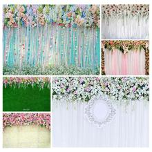 Photo Backdrops Colorful Flowers Ribbons Vinyl Cloth Background for Wedding Lovers Valentines Day Photocall Photography Props