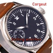 44mm Corgeut black sterile dial green luminous 6497 hand winding mens watch