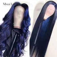 Magic Love Hair Dark Blule color Lace Front Human Hair Wigs Pre Plucked With Baby Hair  Brazilian Straight Wave For Black Women