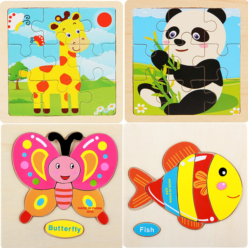 Wooden Puzzle Cartoon Animals wooden Puzzle Small Piece Kids Toys 3D Puzzles DIY Educational Toy Puzzles Toys For Children Gift(China)