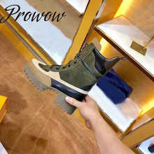 Prowow New Genuine Leather Brand Designer Sexy Platform Women Ankle Boots Round Toe Lace Up Autumn Winter Boots Shoes Women
