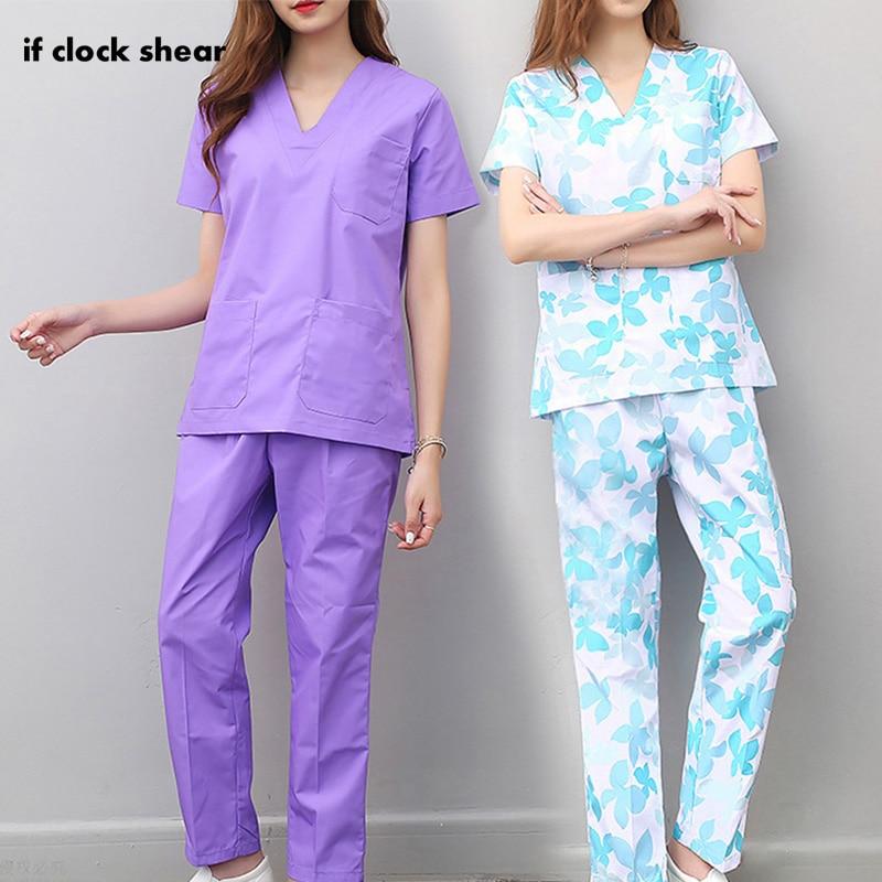 Short Sleeve Women Nursing Uniform Work Top Pants Scrub Sets Hospital Doctor Nurse Surgical Suit Dentist Clinic Medical Uniforms