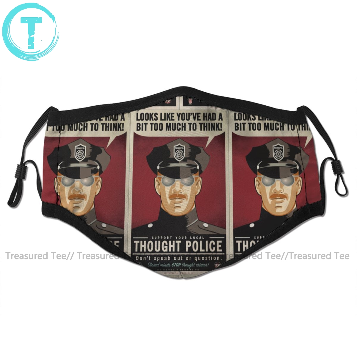 Police Mouth Face Mask Thought Police Facial Mask Kawai Funny With 2 Filters For Adult