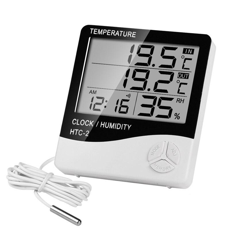 HTC-2 Indoor Room Digital Thermometer Hygrometer Electronic Humidity Temperature Meter Clock With External Outdoor Probe Sensor