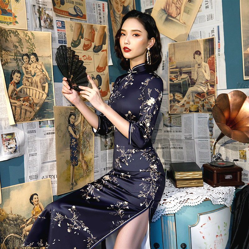 S-4XL 17 Color Autumn Navy Blue Long Sleeve Cheongsam Dresses Vintage Qi Pao Women Formal Long Dress Print Flower Qipao Oversize