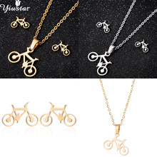 yiustar Women Necklace Earrings Jewelry Set Gold Color Stainless Steel Sets Bike Key Paw Shape Jewelry Set Wedding Jewelry Gift(China)