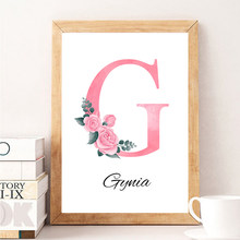 Custom Personalized Name Poster Floral Letter Canvas Painting Prints Baby Nursery Wall Art Pictures Kids Girl Bedroom Decoration