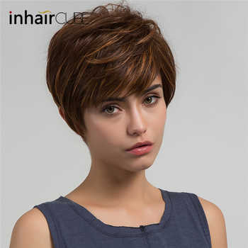 Inhaircube Synthetic Women Wigs with Natural Bangs Fluffy Layered Straight Blonde Highlights Heat Resistant Short Hair Wig - Category 🛒 All Category