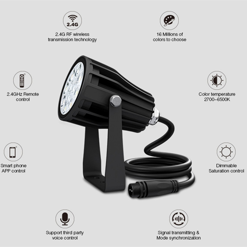 FUTC08A Miboxer 6W RGB+CCT LED Garden Light+Power Cable Kit 2.4GHz RF Remote Control Support Smart Phone App Voice Control