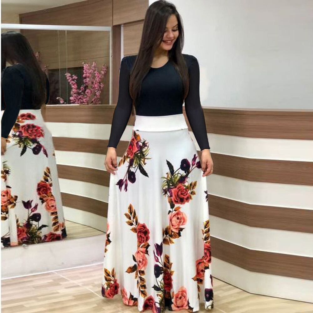 Vintage Floral Print O-Neck Long Dress Women Summer 2020 New Short Sleeve Robe Casual Elegant Lady Maxi Vestidos Plus Size S-5XL