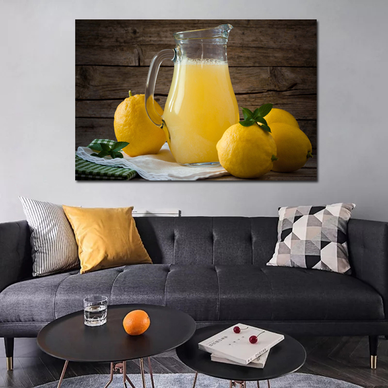 Frame Home Kitchen Decoration Wall Art Canvas Posters Orange And Orange Juice Art Painting Picture Artwok