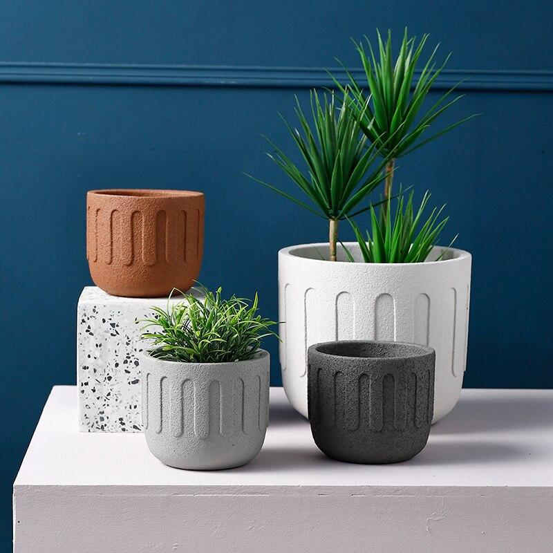 Round Cement Flowerpot Silicone Mold Creative Concrete Potted Plant Flowerpot Mold