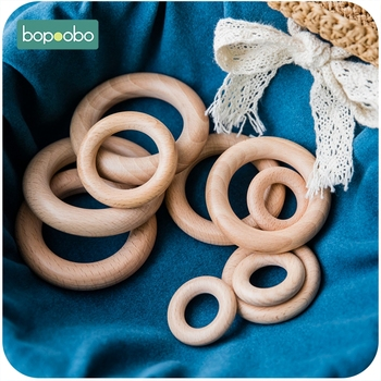 Bopoobo 5/10pc Beech Wooden Ring 40/60/65mm Food Grade For Baby Teething Accessories DIY Crafts Accessories Wooden Baby Teether let s make beech wooden teether ring 10pc 70mm baby teething wooden crafts toys for baby rattles wood ring crib mobile teether