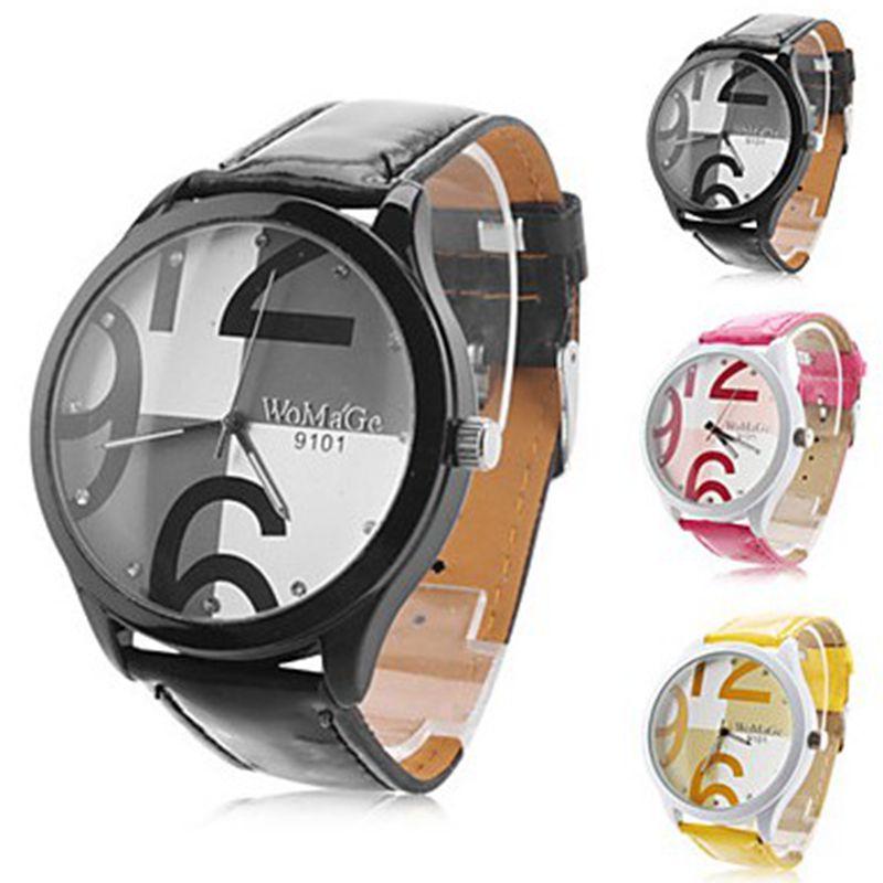 Zegarek Damski WoMaGe Fashion Casual Women Watches Big Number Dial Ladies Quartz Watches Student Wristwatches Horloges Vrouwen