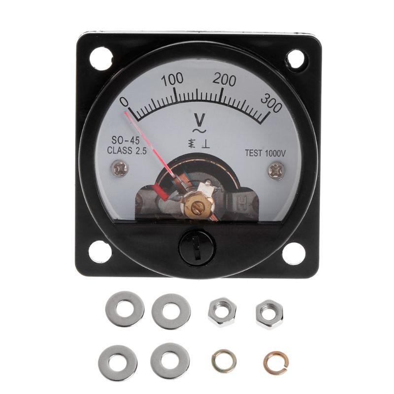 New Voltmeter SO-45 AC 0-300V Round Analog Dial Panel Meter Voltmeter Gauge Black Instruments And Apparatus