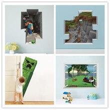 Jogo dos desenhos animados 3d adesivo de parede para sala de crianças mural poster decoração para casa decalque da parede cartaz do jogo quadrado mundo cartaz