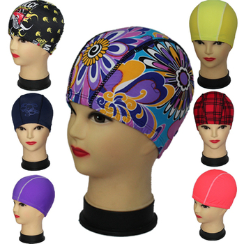 Free Delivery Random Colors and Prints Fabric Swimming Cap Much Valuable Unisex Nylon Lycra Quality Female and Male Swim Hat image