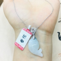 Natural Burmese Ajadeite carved beautiful fish pendant with 925 sterling silver necklace Elegant ladies jade clavicle chain