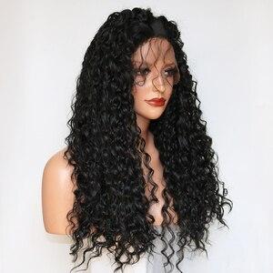 Image 4 - Парик Фэнтези Бьюти 180% из плотного клея, предварительно выщипанные на шнуровке Передние синтетические волосы, вьющийся парик, Термостойкое волокно с детскими волосами