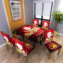 Kerst Tafelkleed/Stoel Cover Digital Printing Diner Stoel Back Covers Party Home Decor Tafel Decoratie housse de chaise(China)