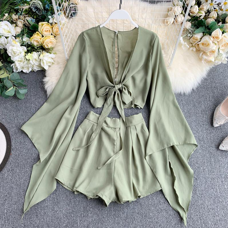 FTLZZ Chiffon Two Pieces Set Women Loose Short Sunscreen Jacket + Wide Leg Short Pants Clothing Female Casual Holidays Suit