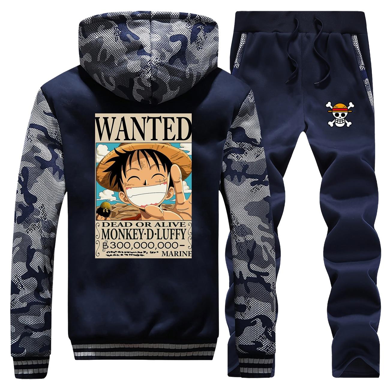 Japan Anime Men's Sets One Piece Fashion Warm Tracksuit Monkey D Luffy Wanted Camo Jacket Winter Fashion Fleece Zipper Sweatsuit