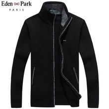 2020 nowy sweter mężczyźni Eden Park jesienne zimowe swetry męskie grube męskie swetry kurtki w stylu casual na zamek błyskawiczny dzianina rozmiar M-3XL tanie tanio zipper Standardowy wełny beige Z wełny Stałe MANDARIN COLLAR Na co dzień Kieszenie Komputery dzianiny Cardigan REGULAR