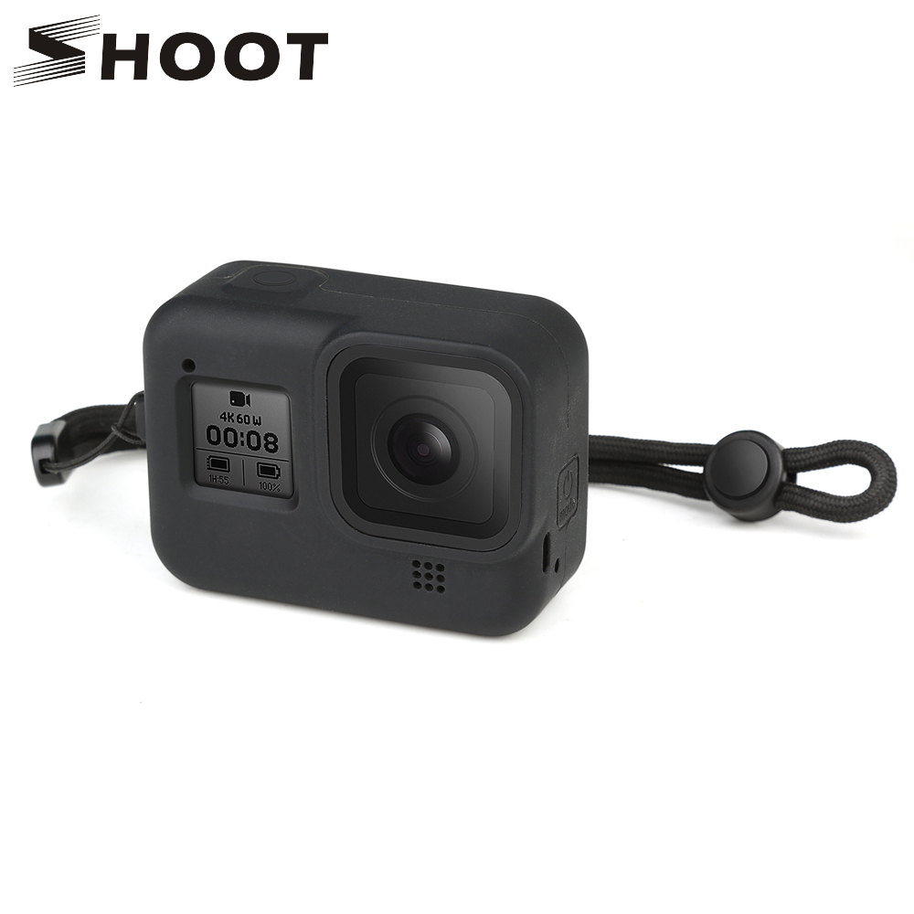 SHOOT Silicone Case For GoPro Hero 8 Black Tempered Film Glass Screen Protector Protective Housing Cover For Go Pro 8 Accessory