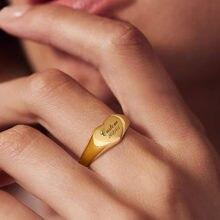 Персональный гравированный классический сердечный перстень для
