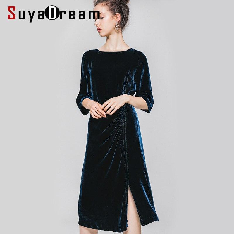 Femmes robe soie velours robes 3/4 manches plaine longue robe 2019 automne hiver mince robe de soirée pour les femmes