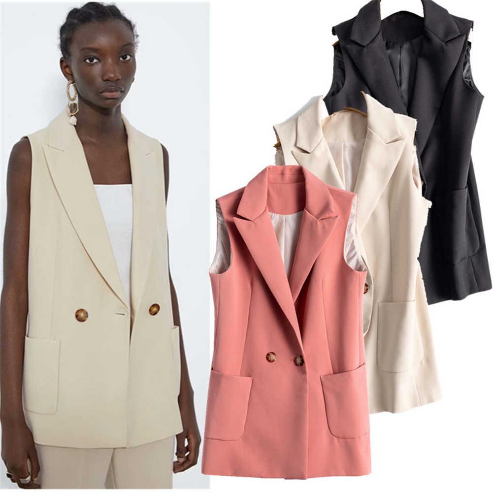 2019 za 여성 자켓 패션 새로운 가을 여성의 포켓 코트 보헤미안 여성의 옷깃 민소매 캐주얼 자켓
