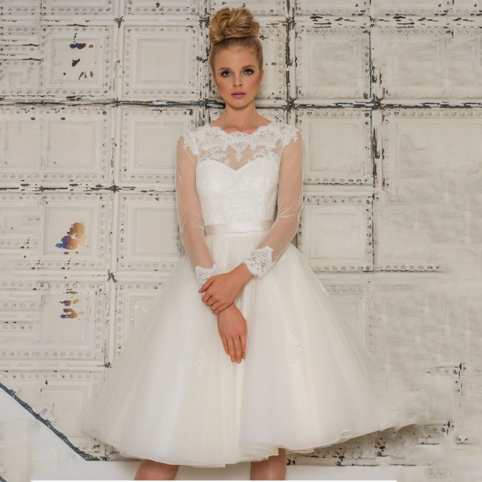 Vintage 1950s Knee Length O Neck White/Ivory Short Wedding Dress With Long Sleeve Custom Made Lace Appliques Wedding dress