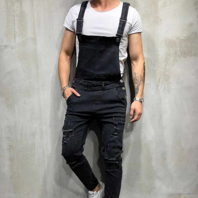 Moda cowboy calças de brim dos homens macacão calças buraco rasgado denim macacão fino ajuste calças lápis plus size homem macacão calças de brim