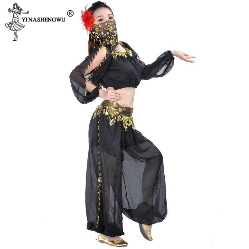 Sexy Bollywood Múa Bụng Trang Phục Bộ Ấn Độ Sari Bellydance Quần Phù Hợp Với Khăn Voan Bellydance Hiệu Suất Nở Hoa Phù Hợp Với