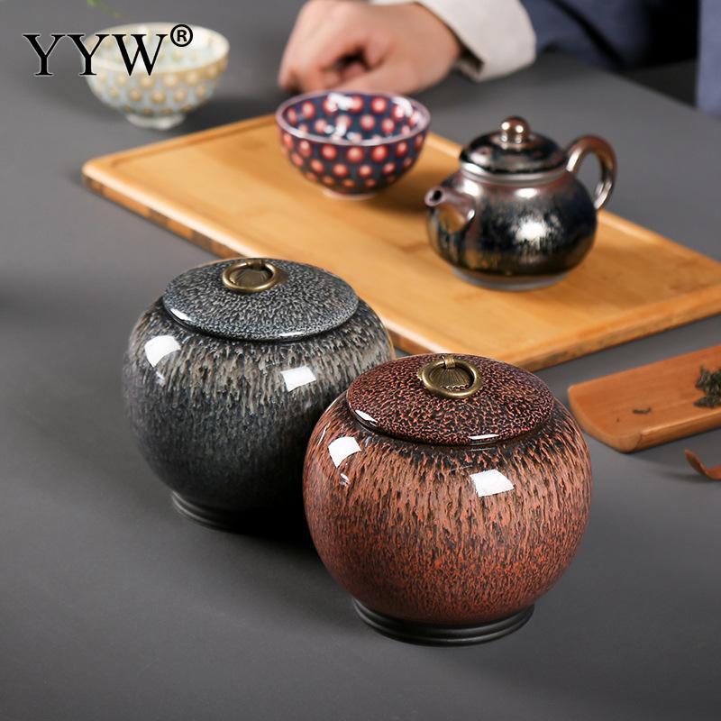 720ml תה תיבת קרמיקה מלאכות תה פח יכול מיכל אוסף אחסון מיכל קופסא תה Theedoos צבע זיגוג צנצנת חותם פחיות