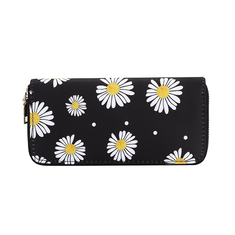 New little Daisy Women's wallet purse fashion zipper hand bag long wallet mobile phone bag zero wallet clutch bag Canvas
