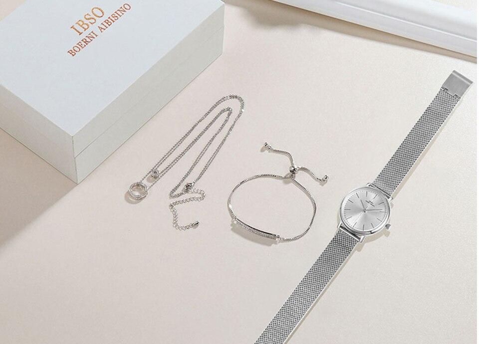 Ensemble bijoux Femme montre cristal Design Bracelet collier 13