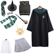 Unisex Kids Adult Magic School Uniform Granger Robe Cloak Dress Women Girls Wizard Clothes Pastor Halloween Costume