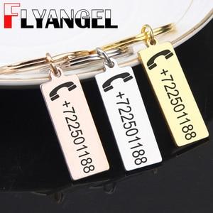 Keychain Customized Engraved Phone Number Anti-lost Pendant Keyring Car Key Tag Jewelry Men Women Bag Charm Gift Key Holder