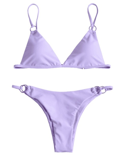 2020 New Decorative Ring Pure Color Bikini Purple Mimosa Swimsuit, Sexy Split Woman Summer Swimsuit