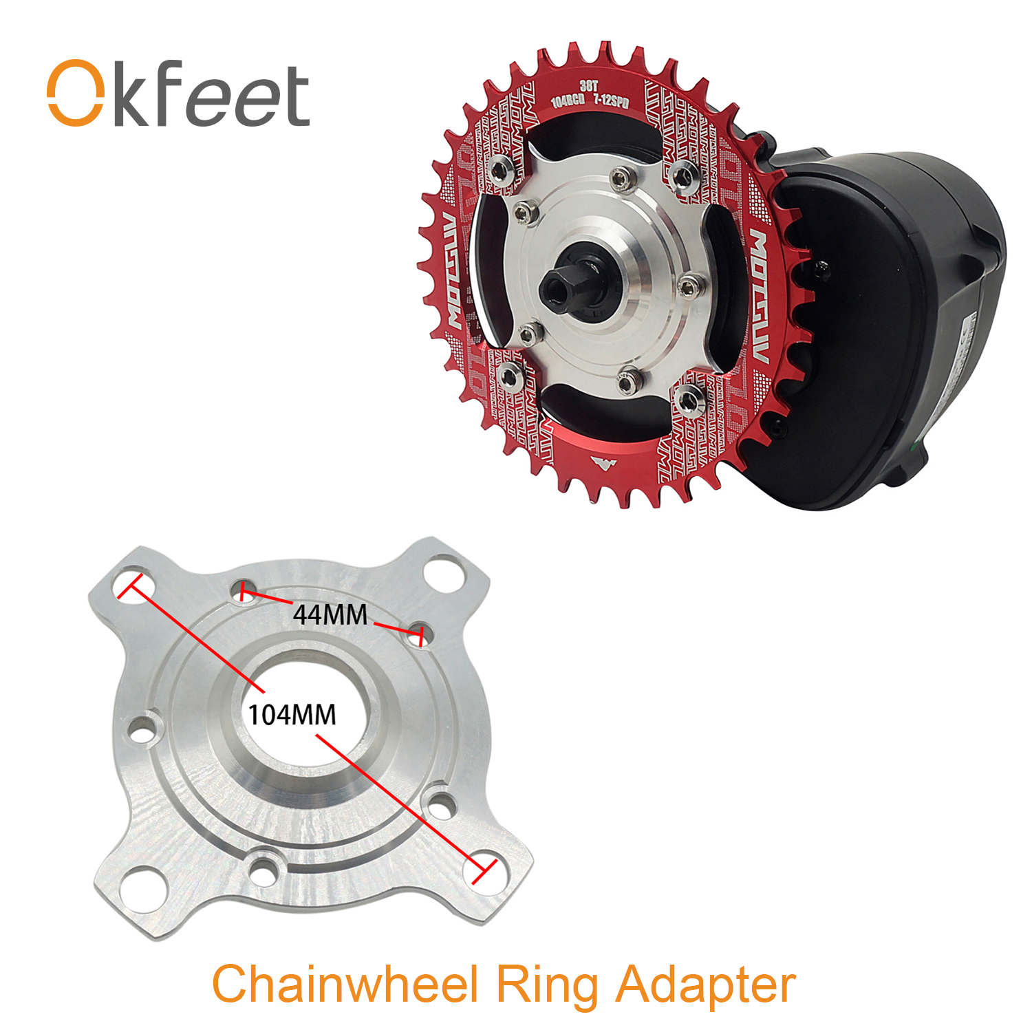 E-Bike Chain Wheel Ring Spider Adapter 104 BCD 32T 34T 36T 38T For Tsdz2 Tongsheng Mid Drive Motor Electric Bicycle