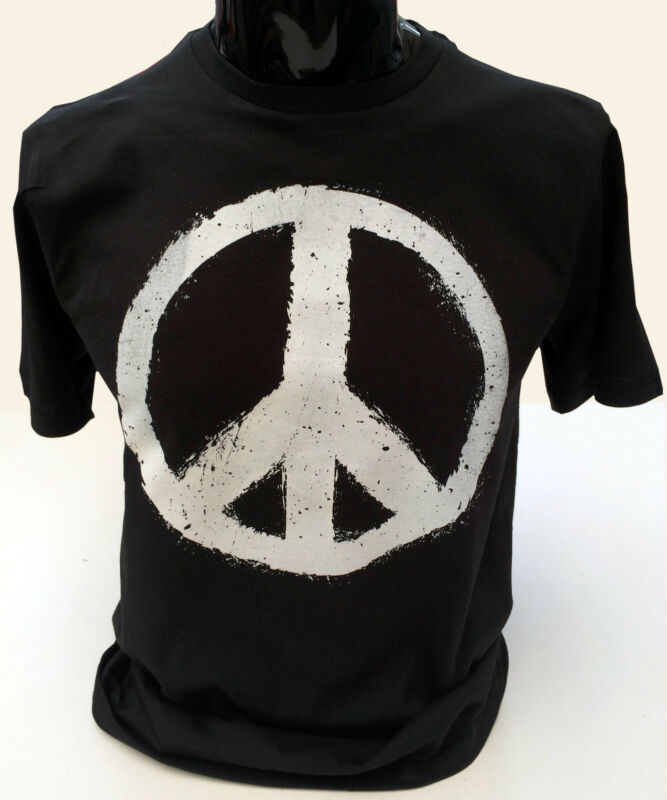 Mens Hipster Peace Sign T-shirt Military CND Dye Peace Logo Retro TSQ2