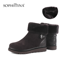 Wool Boots Shoes Suede Women's Square Heel Comfortable Fashion-Design Kid Ankle SOPHITINA