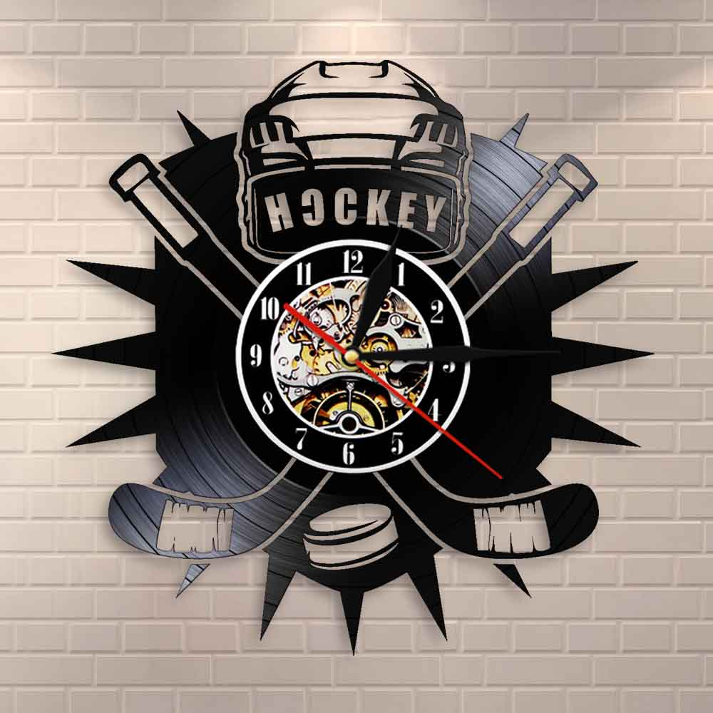 Hockey Man Cave Wall Decor Clock Watch Hockey Club Team Logo Hockey Sticks And Puck Vinyl Record Wall Clock Hockey Fans Gift