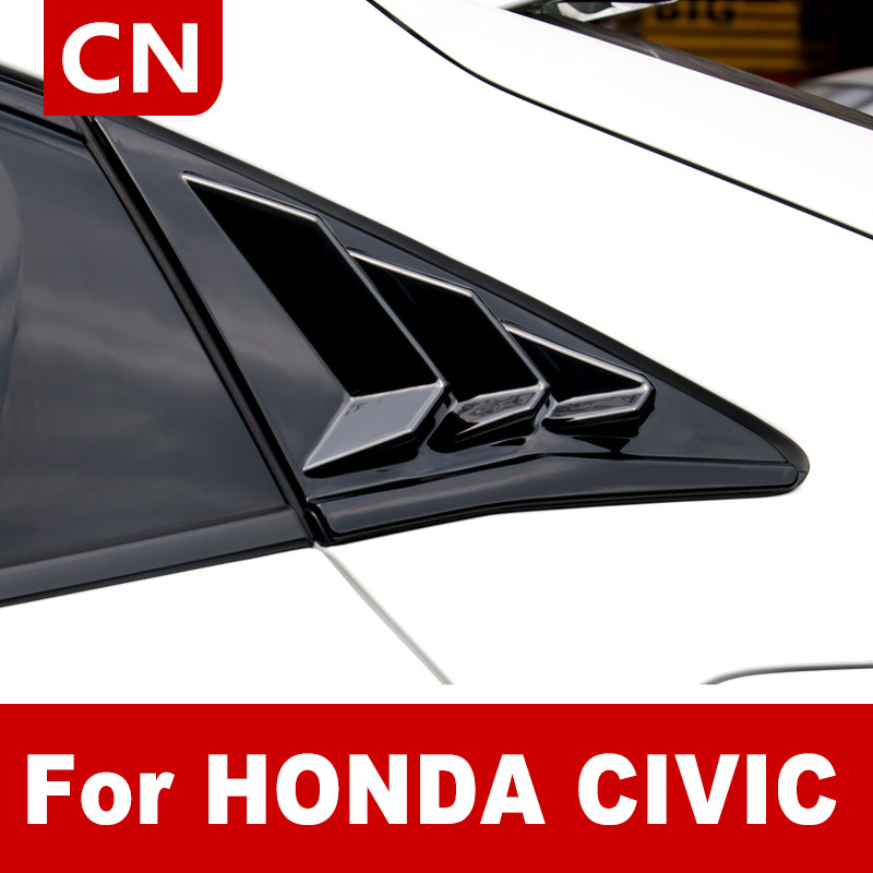 Rear Blinds Sticker Covers For 2021 Honda Hatchback Civic Side Window Blind Frame 2pcs ABS Car Exterior Protective Car Styling