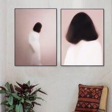 Vague rose filles, Art nordique abstrait, toile, peinture, affiches, images pour salon, décor de maison créatif