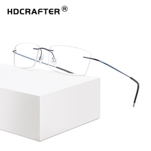 Hdcrafter 독서 안경 남성 여성 티타늄 무테 안경 남성 여성 고품질 광학 프레임 안경